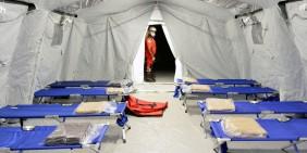 Lazarettzelt für Covid-19-Patienten in der Lombardei, Italien, Februar 2020   Bild: Shutterstock