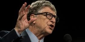 Bill Gates am 10. Oktober 2019 in Lyon   Bild: picture alliance / NurPhoto   Nicolas Liponne