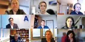 Teilnehmer der Videokonferenz am 26. November 2020: v.l. Tom Schneider, Ellen Ehni, Matthias Hertel, Birand Bingül, Martin Schwab, Bastian Barucker, Michael Meyen, Jana Hahn, Jeanne Rubner