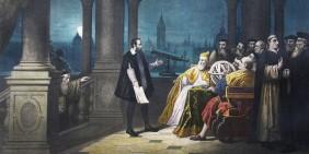 Bild: Galileo Galilei zeigt dem Dogen von Venedig sein Fernrohr | Gemälde (Ausschnitt) von Henry-Julien Detouche (um 1900)